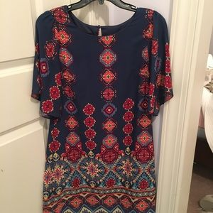 Multi pattern short sleeve dress